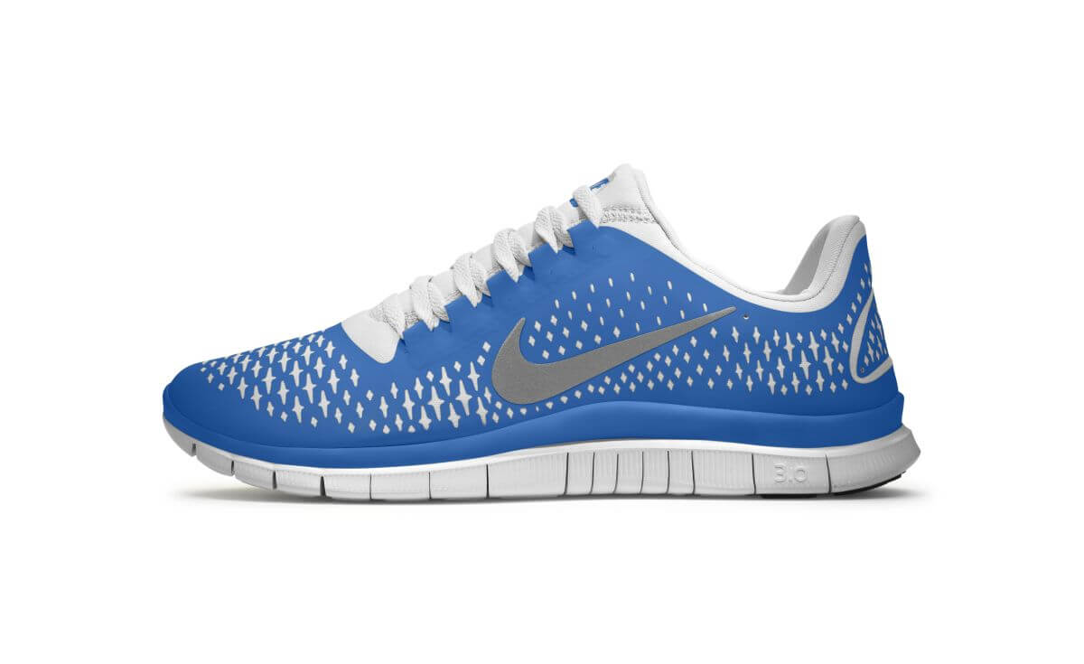 Das Bild zeigt den Nike Free 3.0 für Männer. Das gezeigte Modell besteht aus einem blauen Obermaterial und einer weißen Sohle.