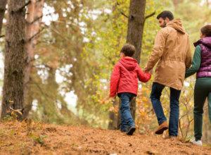 Mutter und Vater spazieren durch einen Herbstwald