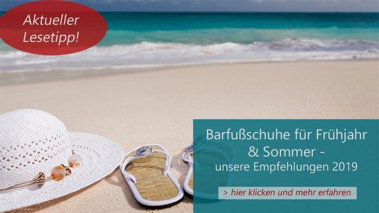Der aktuelle Lesetipp: Ein Bild von Strand mit türkisfarbenen Wasser als Hinweis auf den Artikel Barfußschuhe für den Sommer