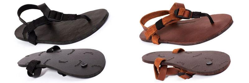 Links das Modell All Black mit einem Fußbett aus Leder. Rechts das Modell All Brown, ebenfalls mit einem Leder-Fußbett.