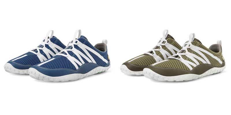 Nimbletoes Damen Sneaker: links in balu, rechts in grün. Beide Schuhe haben innen und außen eine Linien am Obermaterial in weiß
